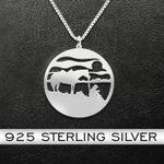 Coffee Break Horse Cowboy Handmade 925 Sterling Silver Pendant Necklace