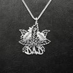 World Dopest Dad Weed Leaf Handmade 925 Sterling Silver Pendant Necklace