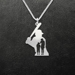 Baseball Mom And Son Handmade 925 Sterling Silver Pendant Necklace
