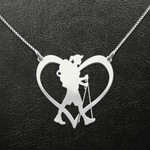 Hiking lover heart Handmade 925 Sterling Silver Pendant Necklace