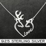 Deer Couple Heart Handmade 925 Sterling Silver Pendant Necklace