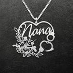 Police Flower Heart Nana Handmade 925 Sterling Silver Pendant Necklace