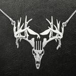 Hunting Punisher Deer Handmade 925 Sterling Silver Pendant Necklace