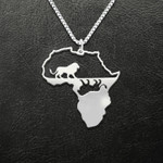 Black African Continental Lion Handmade 925 Sterling Silver Pendant Necklace
