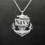 Navy Proud Navy Nana Naval Force Anchor Handmade 925 Sterling Silver Pendant Necklace