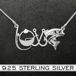 Fishing Love Necklace Handmade 925 Sterling Silver Pendant Necklace