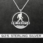 Bigfoot In The Forest Handmade 925 Sterling Silver Pendant Necklace