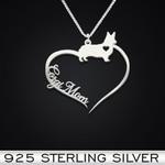 Corgi Heart Mom Handmade 925 Sterling Silver Pendant Necklace