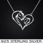 Horseback Riding Horse Heart Handmade 925 Sterling Silver Pendant Necklace