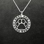 Best dog dad ever Handmade 925 Sterling Silver Pendant Necklace