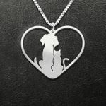 Cat Dog And Cat Love Heart Handmade 925 Sterling Silver Pendant Necklace