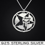 Jeep Punisher Handmade 925 Sterling Silver Pendant Necklace