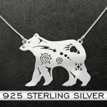 Bear Native Pattern Bear Handmade 925 Sterling Silver Pendant Necklace