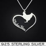 Chicken Heart Mom Handmade 925 Sterling Silver Pendant Necklace