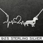 Dachshund Heartbeat Handmade 925 Sterling Silver Pendant Necklace
