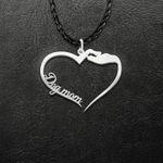 Dog mom heart Handmade 925 Sterling Silver Pendant Necklace