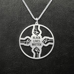 Black Black Lives Matter 4 Fists Handmade 925 Sterling Silver Pendant Necklace