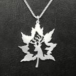 Deer hunting maple Handmade 925 Sterling Silver Pendant Necklace