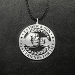 Father & son Best friends for life Handmade 925 Sterling Silver Pendant Necklace