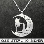 Cat I Love You To The Moon And Back Mother And Child Cat Handmade 925 Sterling Silver Pendant Necklace