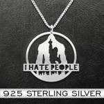 Bigfoot I Hate People Handmade 925 Sterling Silver Pendant Necklace