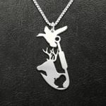 Hunting Duck Deer Turkey Hook Handmade 925 Sterling Silver Pendant Necklace