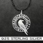 Viking Odin Raven Handmade 925 Sterling Silver Pendant Necklace