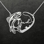 Fishing Fishing Dad Heart Handmade 925 Sterling Silver Pendant Necklace