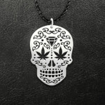 Skull weed pattern Handmade 925 Sterling Silver Pendant Necklace