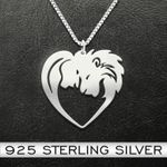 Lion couple heart Handmade 925 Sterling Silver Pendant Necklace
