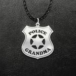 Police Badge Police Grandma Handmade 925 Sterling Silver Pendant Necklace