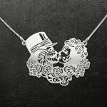 Sugar skull couple Handmade 925 Sterling Silver Pendant Necklace