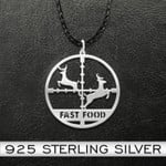 Hunting Fast Food Handmade 925 Sterling Silver Pendant Necklace