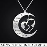 Family I Love You To The Moon And Back Mother And Daughter Handmade 925 Sterling Silver Pendant Necklace