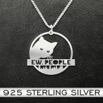 Ew, People Peeking Cat Necklace Handmade 925 Sterling Silver Pendant Necklace