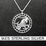 Zodiac Capricorn Handmade 925 Sterling Silver Pendant Necklace