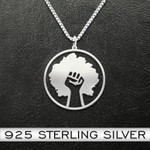 Black hand tree Handmade 925 Sterling Silver Pendant Necklace