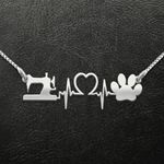 Dog And Sewing Heartbeat Handmade 925 Sterling Silver Pendant Necklace