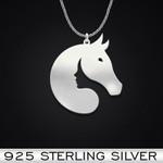 Horseback Riding Horse Girl Handmade 925 Sterling Silver Pendant Necklace