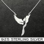 Ballet Dancer And Bird Handmade 925 Sterling Silver Pendant Necklace