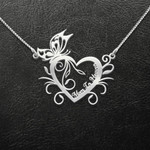 Mom In Heaven Heart Shape With Flower Leaf Handmade 925 Sterling Silver Pendant Necklace