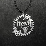 Mother In Heaven Mom In Leaf Flower Circle Handmade 925 Sterling Silver Pendant Necklace