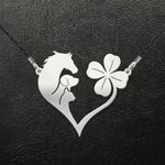 St patrick day horse dog cat Handmade 925 Sterling Silver Pendant Necklace
