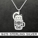 Cat Coffee And Cat Handmade 925 Sterling Silver Pendant Necklace