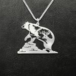 Bear Bear Eagle And Antler Handmade 925 Sterling Silver Pendant Necklace