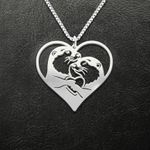 Otter couple heart Handmade 925 Sterling Silver Pendant Necklace