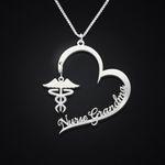 Nurse Grandma Heart Caduceus Symbol Handmade 925 Sterling Silver Pendant Necklace