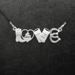 Pet Horse Mom Cowboy Girl Love Handmade 925 Sterling Silver Pendant Necklace