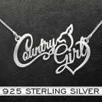 Country girl Handmade 925 Sterling Silver Pendant Necklace