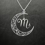 Zodiac Scorpio Moon Phase Handmade 925 Sterling Silver Pendant Necklace